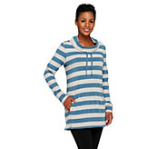 As Is Denim & Co. Active Stripe Cowl Neck Top - A266556