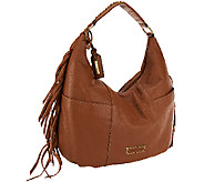 Tignanello Pebble Leather Zip Hobo Bag with Fringe - A269256