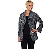 Isaac Mizrahi Live! Wood Grain Pattern Open Front Jacket - A269556