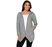 As Is Denim & Co. Active French Terry Drape Front Hooded Cardigan - A274756