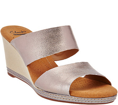 Clarks Leather Double Band Slide Wedge Sandals - Helio Lily - A275956