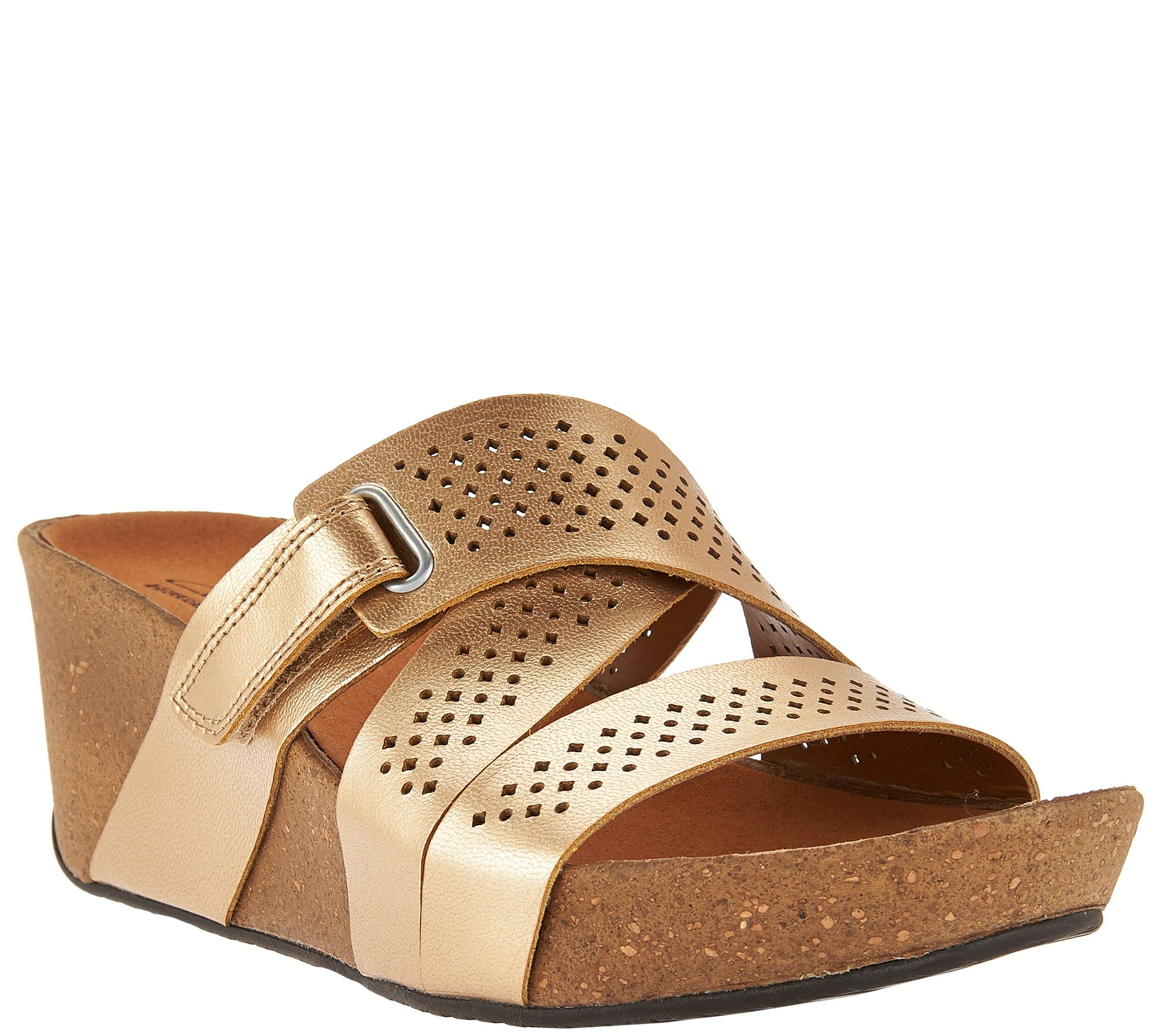 Clarks Leather Perforated Slip On Wedge Sandals Auriel