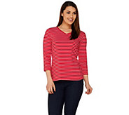 Susan Graver Weekend Striped Cotton Modal V-Neck Top - A276456
