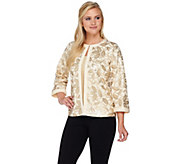 Bob Mackies 3/4 Sleeve Sequin Knit Jacket with Solid Trim - A276556