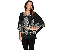 Bob Mackies Square Neck Printed Knit Caftan Top - A276856