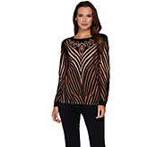 Bob Mackies Printed Sweater with Jeweled Neckline - A279156