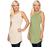 As Is LOGO Layers by Lori Goldstein Set of 2 Curved Hem Knit Tanks - A281056