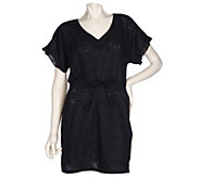 As Is RUYI Cotton Eyelet Cover-Up Tunic with Drawstring Waist - A282656