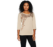 Bob Mackies Embroidered Pull-Over Knit Top with Sequins - A284356