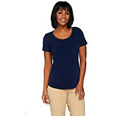 As Is Susan Graver Liquid Knit Top with Braided Trim - A284756