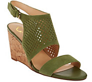 As Is C. Wonder Perforated Suede Cork Wedge Sandals - A285256