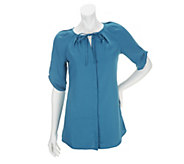 As Is Edge by Jen Rade Short Sleeve Blouse with Pleat Details - A286656