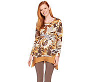 LOGO by Lori Goldstein Cotton Modal Printed Top w/ Twist Details - A286956