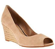 As Is Judith Ripka Nubuck Leather Peep Toe Wedges - Chloe - A287556
