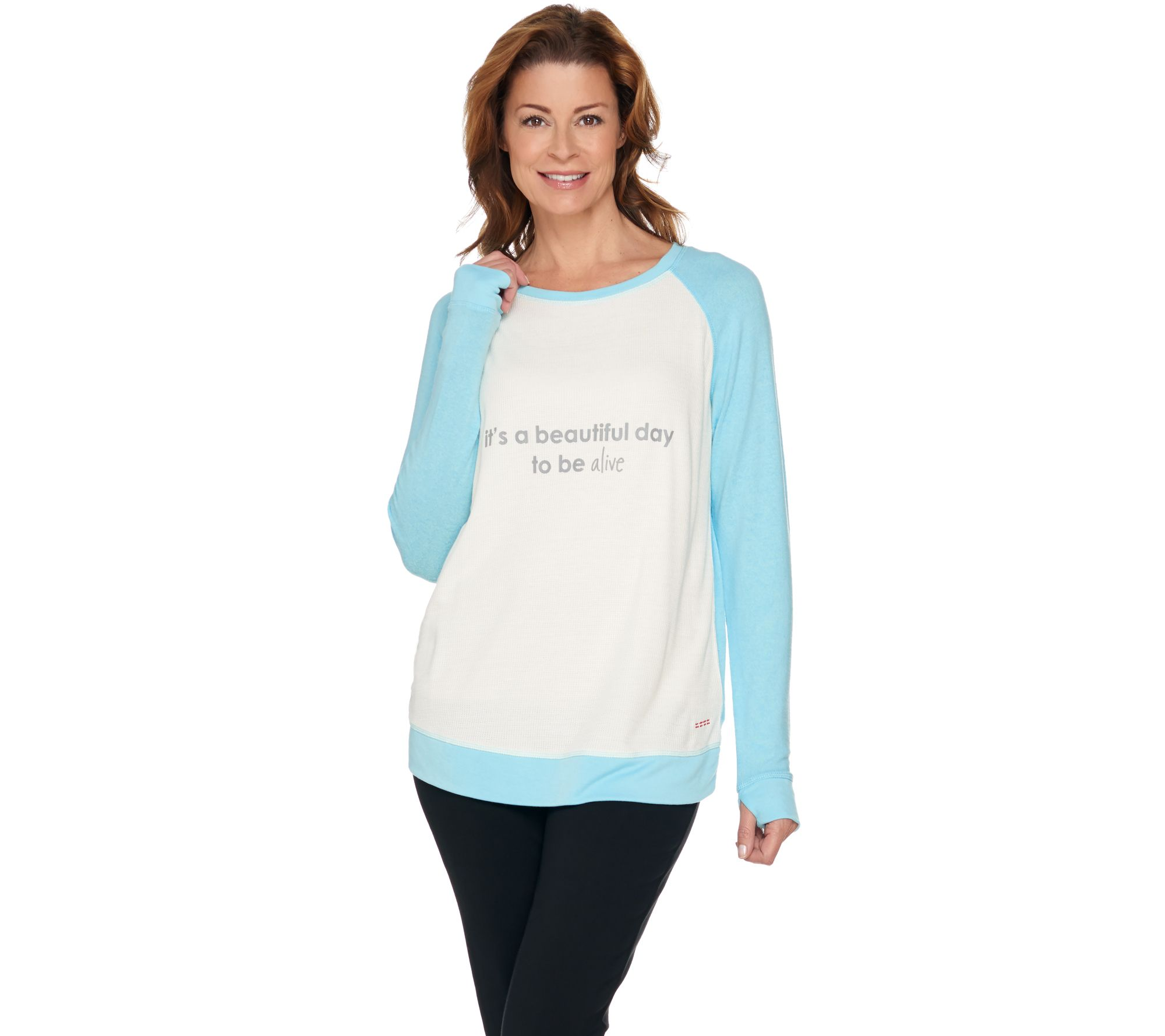 Peace Love World Long Sleeve Waffle And Comfy Knit Top Page  Qvc Com