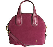As Is orYANY Italian Suede Domed Satchel - Nadine - A289856