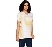 Denim & Co. Active Striped Short Sleeve V-Neck Tunic with Side Slits - A292456