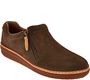 Clarks Artisan Leather Side Zip Slip-on Shoes - Amberlee Vita - A294556