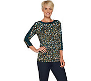 Susan Graver Printed Liquid Knit Top with Ruched Sleeves - A294856
