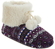 Cuddl Duds Faux Fur Lined Ankle Boot Slipper with Foam Insole - A296856
