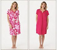 Carole Hochman Wood Block Floral Rayon Spandex Sleepshirt Set - A302156