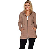 As Is Isaac Mizrahi Live! SOHO Plushed Back Zip Front Tunic Hoodie - A304956