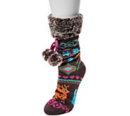 MUK LUKS Womens Pieced Cabin Socks with Tie Detail - A361756