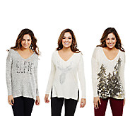 Bethany Mota Choice of Holiday Motif Knit Top with Hi-Low Hem - A70856