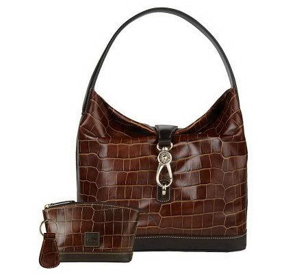 Dooney Amp Bourke Croco Embossed Leather Logo Lock Hobo Bag
