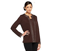 Quacker Factory Jewel Neck Embellished Duet Top - A96056