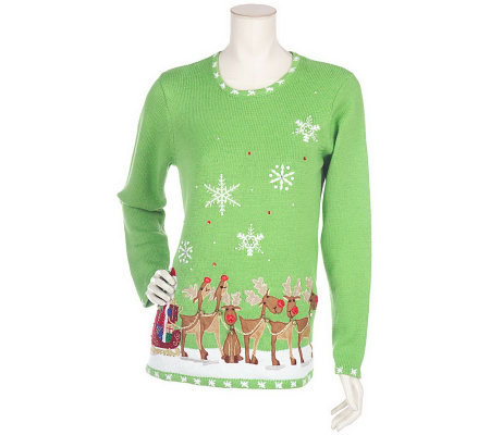 Quacker Factory Fiber Optic Lighted Holiday Sweater with Batteries