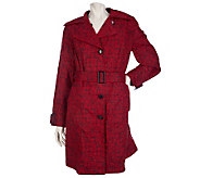 Dennis Basso Crinkle Logo Printed Trench Coat - A200057