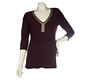 Effortless Style by Citiknits Knit Top with Metallic Trim - A211757