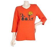 Quacker Factory 3/4 Sleeve Halloween Sparkle T-shirt - A217157