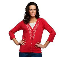Susan Graver Sweater Knit Cardigan with 3/4 Sleeves & Embellishments
