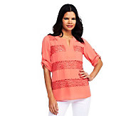 Kelly by Clinton Kelly 3/4 Sleeve Roll Tab Tunic w/ Lace Panels - A231457