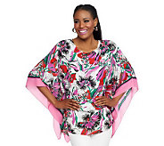Joan Rivers Tropical Floral Print Caftan Top - A232457