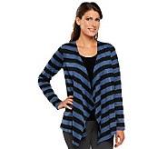 Linea by Louis DellOlio Long Sleeve Drape Front Stripe Cardigan - A232657