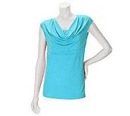 Linea by Louis DellOlio Feather Jersey Drape Neck Shoulder Top - A233957