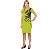 Bob Mackies Short Sleeve Asymmetrical Zebra Print & Sequin Dress - A234057