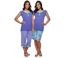 Carole Hochman Magnolia Floral 3-pc Capri and Bermuda Shorts Pajama Set
