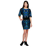 M by Marc Bouwer Jewel Print Knit Dress with Ruching Detail - A235057