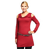 Kris Jenner Kollection Long Sleeve Cold Shoulder Tunic with Belt - A236057