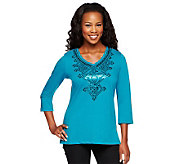 Bob Mackies V-Neck Sequin Embroidered Top w/ Side Slits - A236157