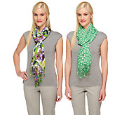 Isaac Mizrahi Live! 28x72 Set of Two Printed Scarves - A253157