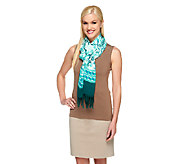 Isaac Mizrahi Live! Porcelain Print Scarf with Fringe Detail - A254157