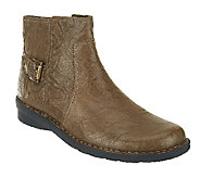 As Is Clarks Bendables Nikki Star Leather Side Zip Ankle Boots - A254957