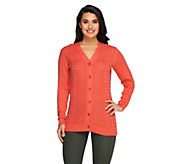 Liz Claiborne New York Cotton Cashmere Fisherman Sweater - A256457