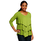 As Is Susan Graver Liquid Knit Chevron Tiered Top with 3/4 Sleeves - A256557