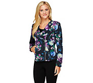 Mark of Style by Mark Zunino Floral Printed Motorcycle Jacket - A257657